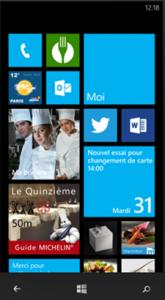 Capture écran de l'interface d'accueil de Windows phone 8