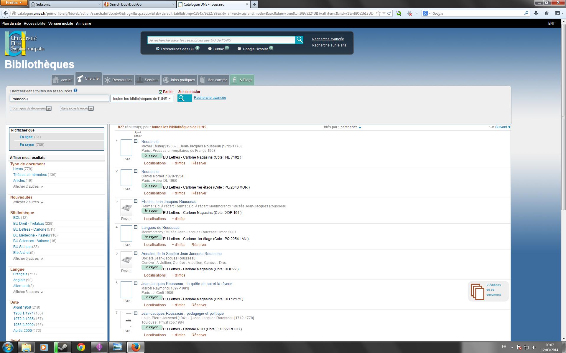 12 min de recherche de documents sur le site de la BU de Nice : on remarque de nombreux allers-retours entre la liste des résultats et la barre de recherche de documents ainsi que vers le champ des moteurs de recherche personnalisé du navigateur (en haut à droite)