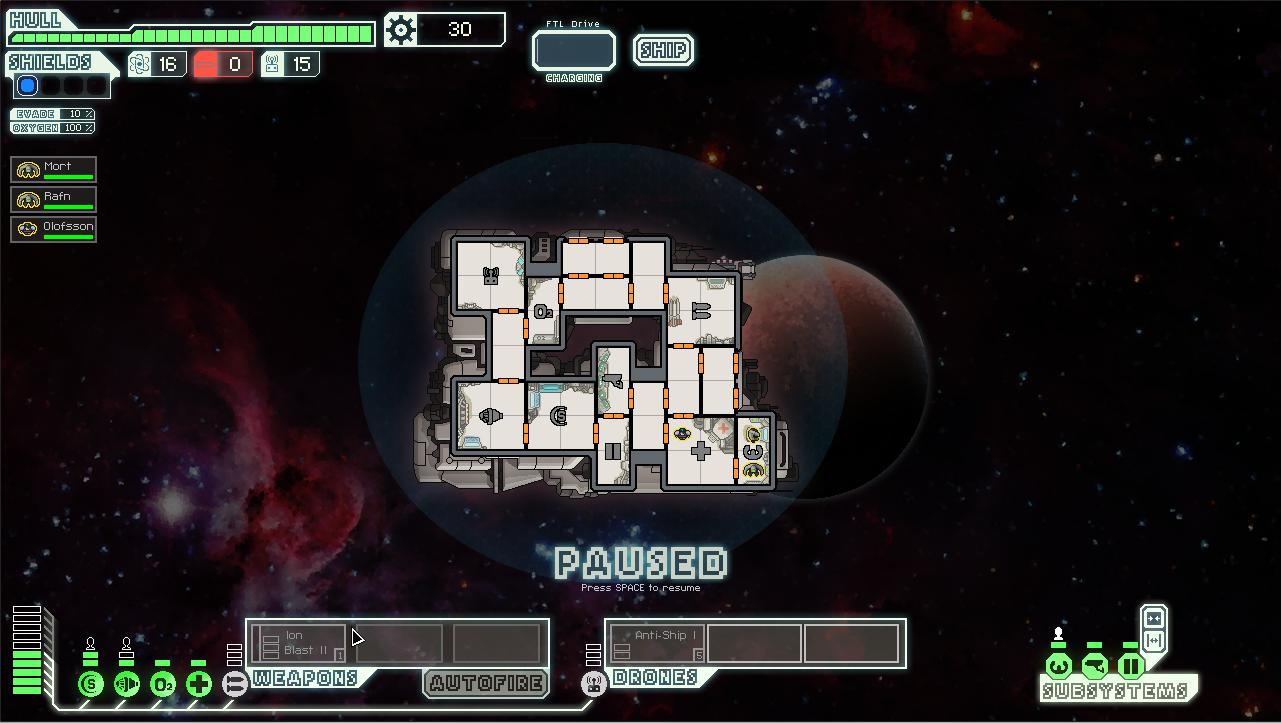15 min de jeu sur Faster Than Light : on remarque l'importance du bouton tout en haut au centre (permettant d'aller d'une planète à l'autre) ainsi que l'accès aux boutons en bas à gauche