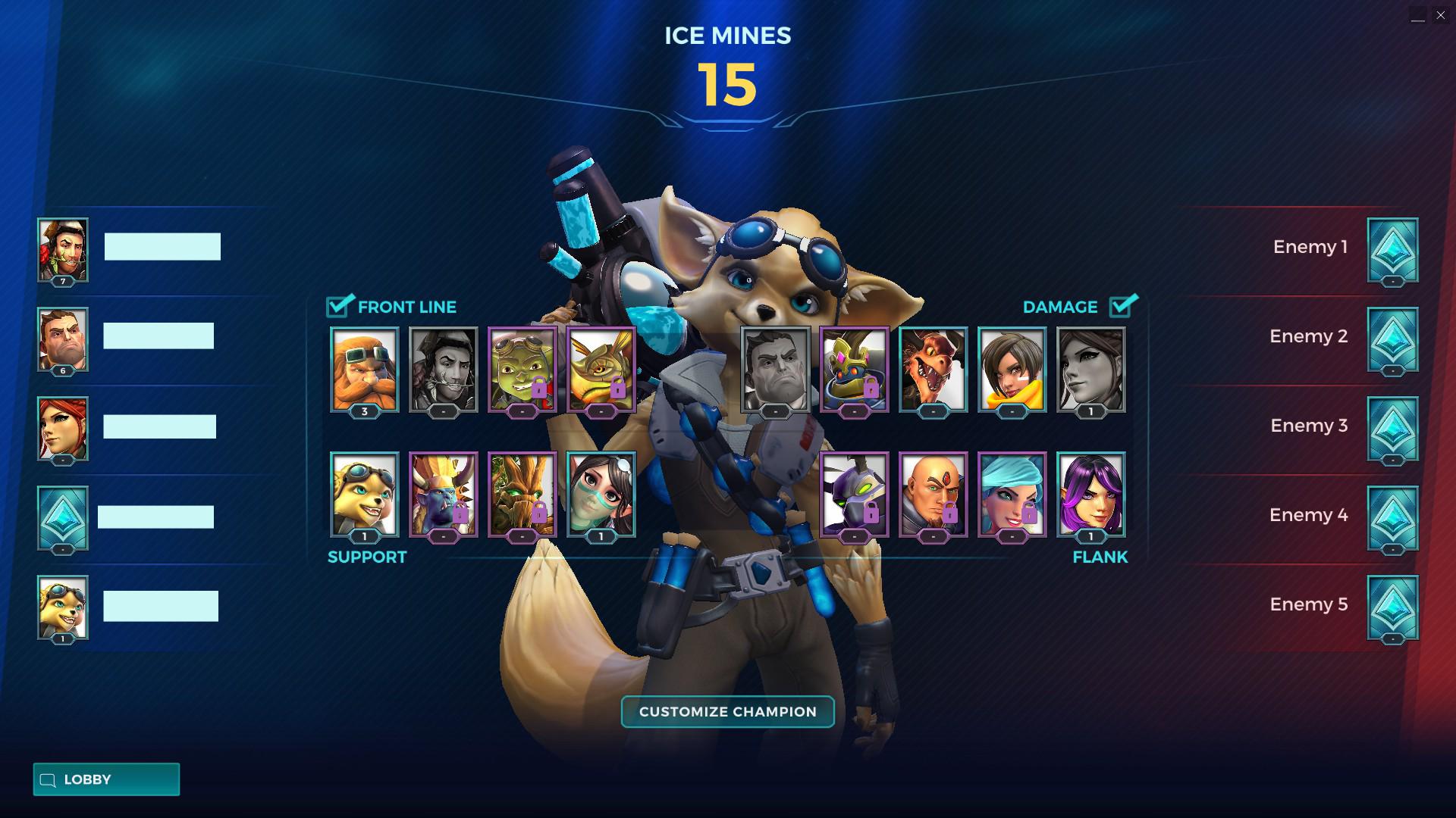 L'écran de séléction des personnages ne montre que leur apparence.