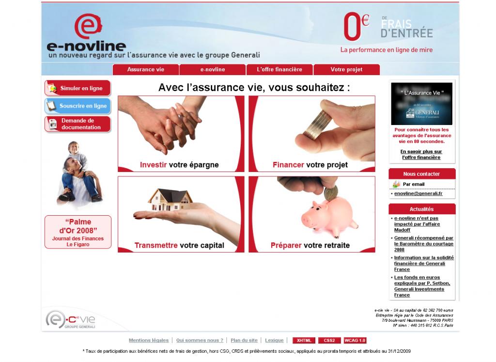 La page d'accueil du site e-novline en 2009