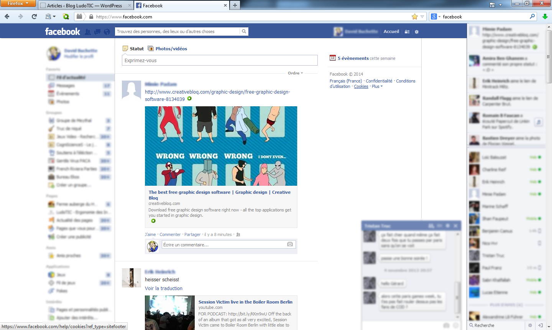 20 min d'utilisation de Facebook : on remarque les pauses du curseur au niveau du chat ainsi que des pauses régulières au centre de l'écran (dû au fait que l'utilisateur scroll avec la molette pour faire défiler la liste des actualités)