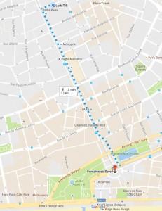 Image de la map avec point A et point B et tracé de Jean Médecin à la fontaine du soleil