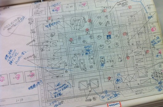 Plan complet (level design) d'un niveau du jeu Metal Gear Solid