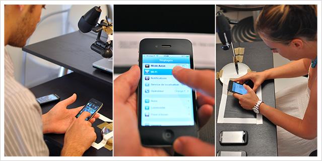 Les utilisateurs testent l'ergonomie des smartphones dans le LudoLab